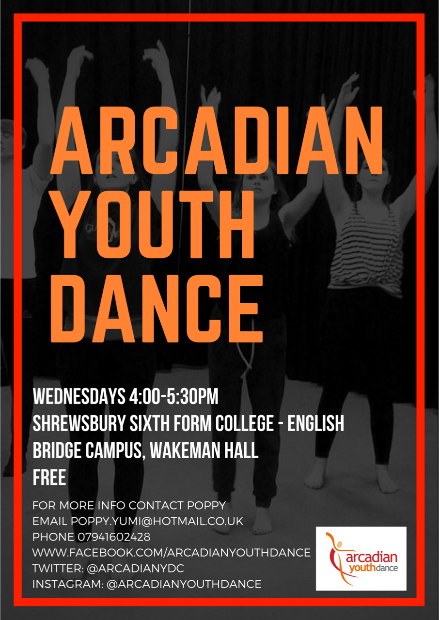 arcadian dance english bridge campus wednesdays 4pm to 530pm FREE all welcome